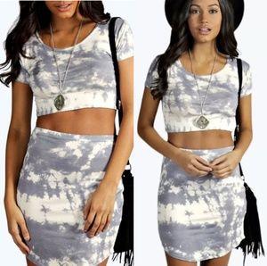BooHoo Camera Tie Dye Capped Sleeve Mini skirt set